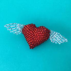 BEADED WINGED HEART PIN