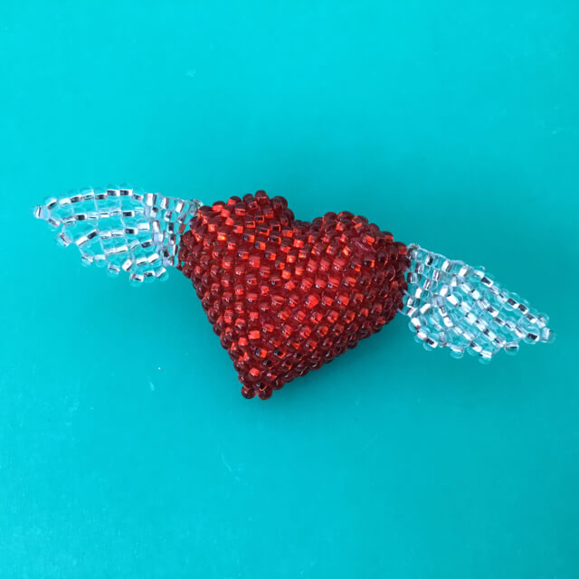 BEADED WINGED HEART PIN