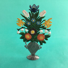 GERMAN PEWTER FLOWER BOUQUET IN A URN