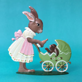 BUNNY PUSHING CARRIAGE: GERMAN PEWTER