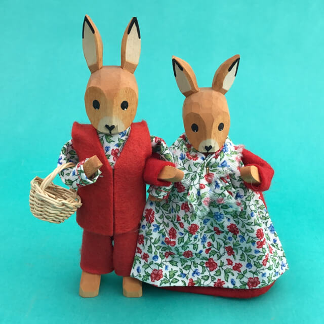 GERMAN BOY AND GIRL BUNNIES IN RED - SET OF TWO