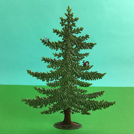 GERMAN PEWTER LARGE SUMMER PINE WITH SQUIRREL AND BIRD