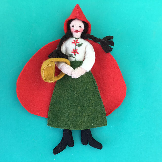 LITTLE RED RIDING HOOD FELT ORNAMENT BY LEAH KOSTOPLOS