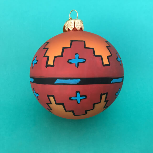 NAVAJO SPIRIT GLASS ORNAMENT – ORANGE