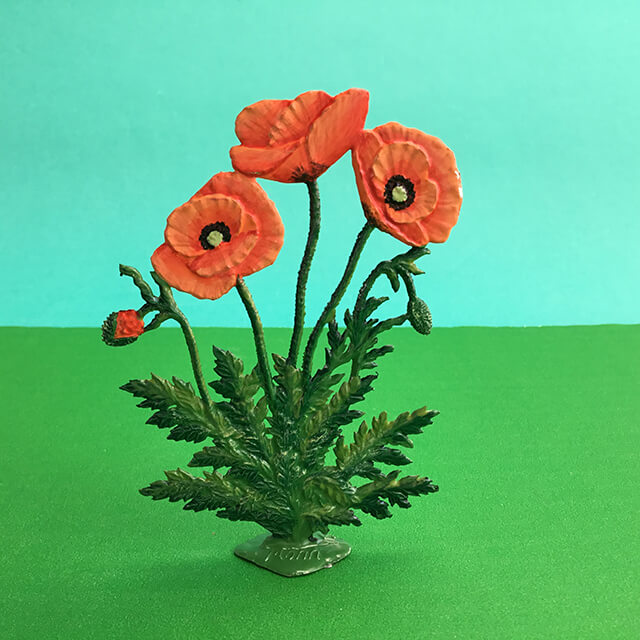 GERMAN PEWTER STANDING ORANGE POPPIES