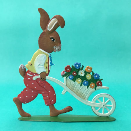 PEWTER EASTER BUNNY WITH WHEELBARROW