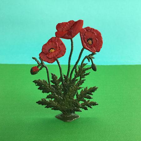 GERMAN PEWTER STANDING RED POPPIES