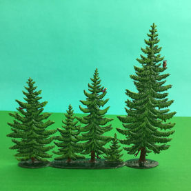 GERMAN PEWTER LARGE SUMMER PINE GROUP OF 5 TREES