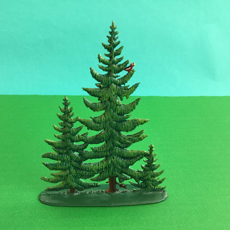 GERMAN PEWTER SMALL SUMMER PINE GROUP OF 3 TREES