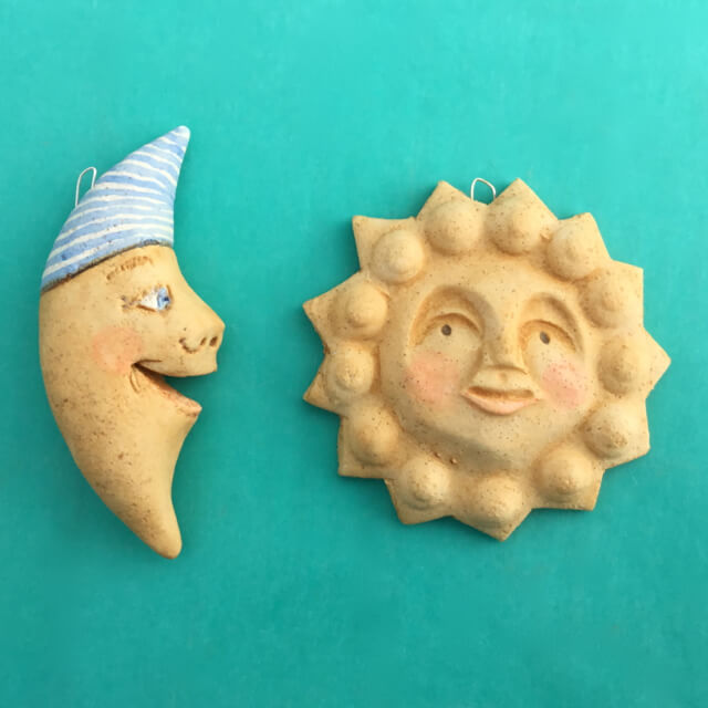 DOUGH SUN AND MOON ORNAMENTS BY SUSAN WEBER - TWO PIECES SET