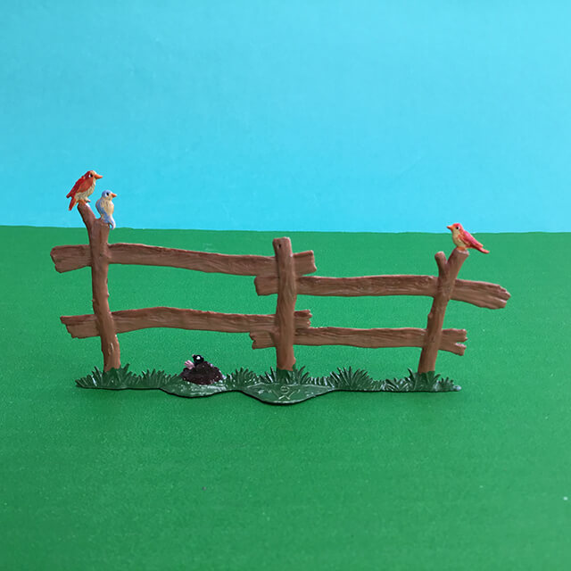 GERMAN PEWTER WOODEN FENCE WITH BIRDS