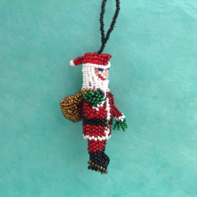 BEADED SANTA WITH BAG OF GIFTS