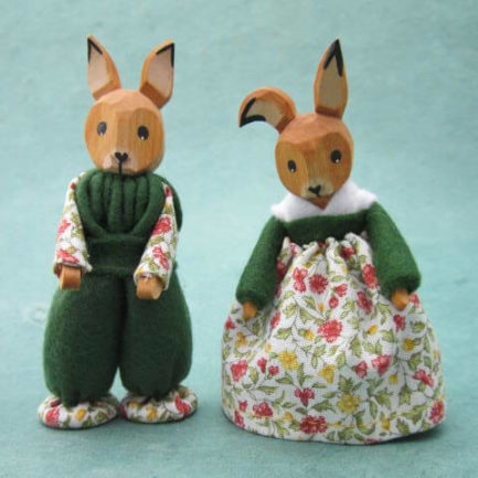 SMALL GERMAN BOY AND GIRL BUNNIES IN GREEN - SET OF TWO