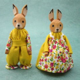 SMALL GERMAN BOY AND GIRL BUNNIES IN YELLOW - SET OF TWO