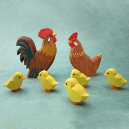 GERMAN CARVED WOOD CHICKEN FAMILY - SET OF 7