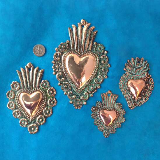 SET OF FOUR COPPER MILAGRO HEARTS