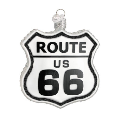 OLD WORLD ROUTE 66 GLASS ORNAMENT