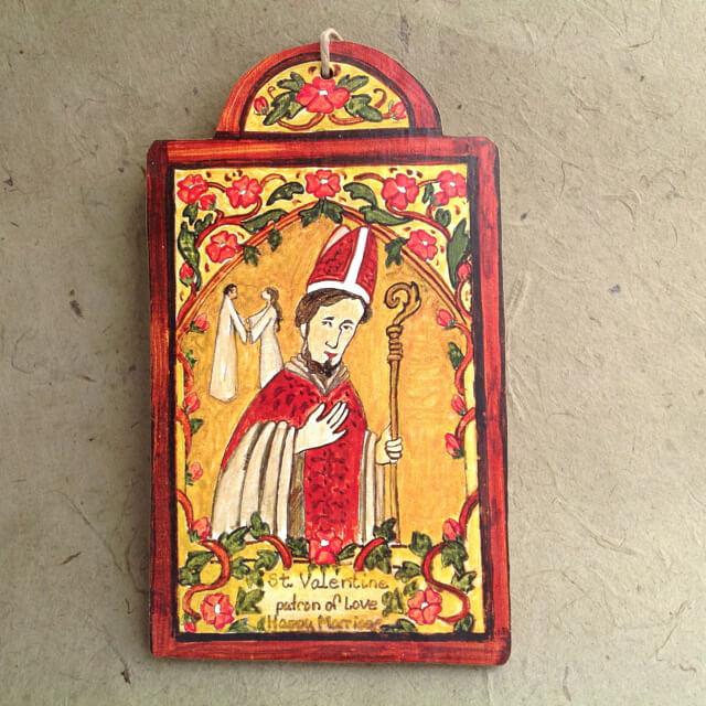 SAINT VALENTINE RETABLO ORNAMENT BY LYNN GARLICK