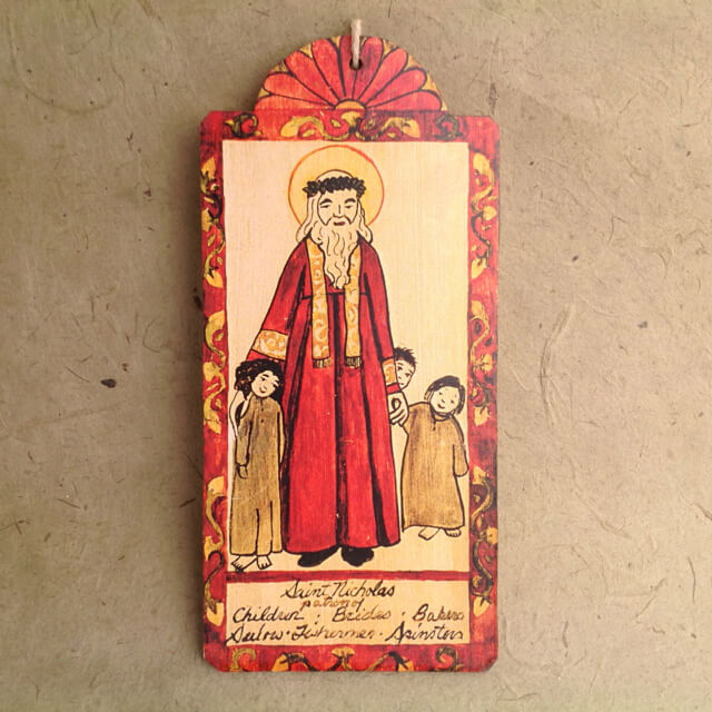 SAINT NICHOLAS RETABLO ORNAMENT BY LYNN GARLICK