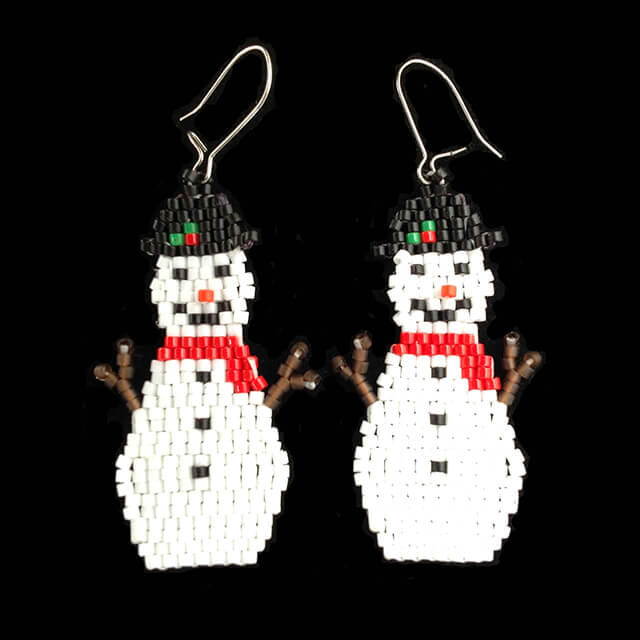 BEADED SNOWMAN EARRINGS BY MELISSA WEBER