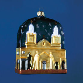SAN FELIPE DE NERI, OLD TOWN ALBUQUERQUE GLASS ORNAMENT