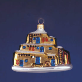 TAOS PUEBLO GLASS ORNAMENT
