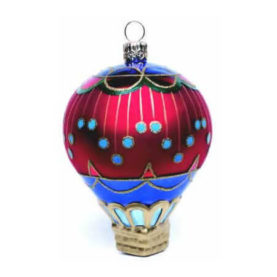 CIRCUS 1 HOT AIR BALLOON GLASS ORNAMENT