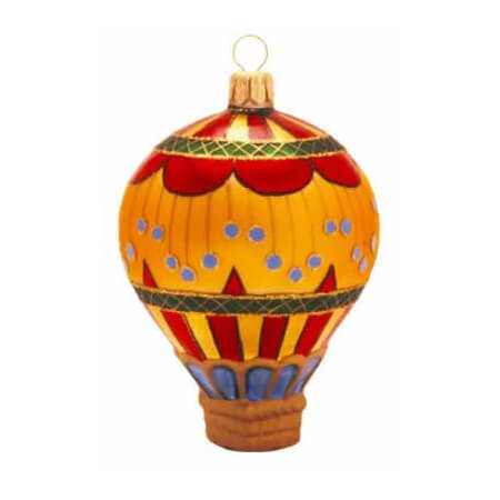 CIRCUS II HOT AIR BALLOON GLASS ORNAMENT