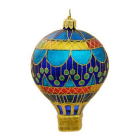 CIRCUS BLUE HOT AIR BALLOON GLASS ORNAMENT