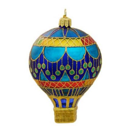 CIRCUS BLUE HOT AIR BALLOON GLASS ORNAMENT