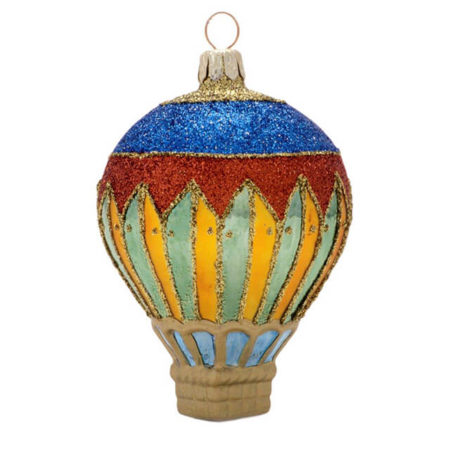HARLEQUIN HOT AIR BALLOON GLASS ORNAMENT