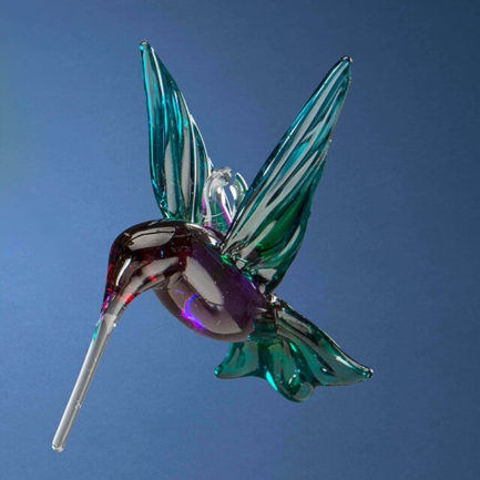 GLASS HUMMINGBIRD ORNAMENT BY MARY GUTIERREZ