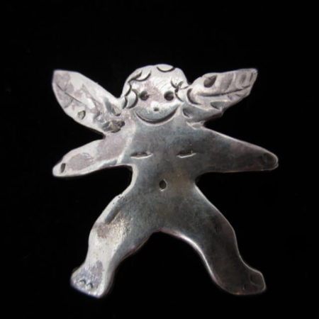 STERLING SILVER SMALLER ANGEL PIN BY CATHERINE MAZIERE