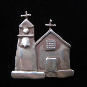 STERLING SILVER PIN OF THE CHURCH AT TRUCHAS BY CATHERINE MAZIERE
