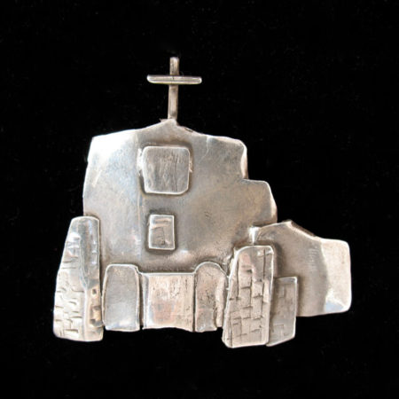 STERLING SILVER PIN OF SAN MIGUEL CHAPEL IN SANTA FE BY CATHERINE MAZIERE