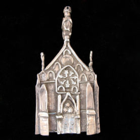 STERLING SILVER LORETTO CHAPEL PIN BY CATHERINE MAZIERE