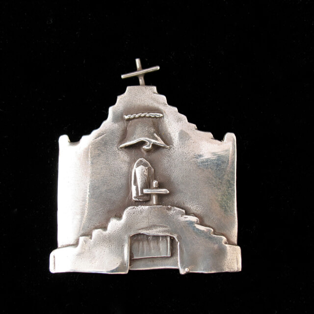 STERLING SILVER SANTUARIO DE CHIMAYO PIN BY CATHERINE MAZIERE