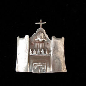 STERLING SILVER PIN OF THE CHURCH AT ZUNI PUEBLO BY CATHERINE MAZIERE