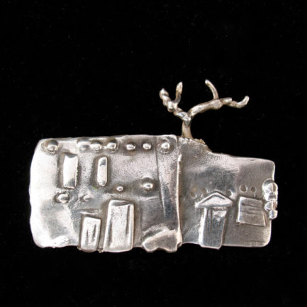 "STERLING SILVER PIN OF ""THE OLDEST HOUSE"" BY CATHERINE MAZIERE"