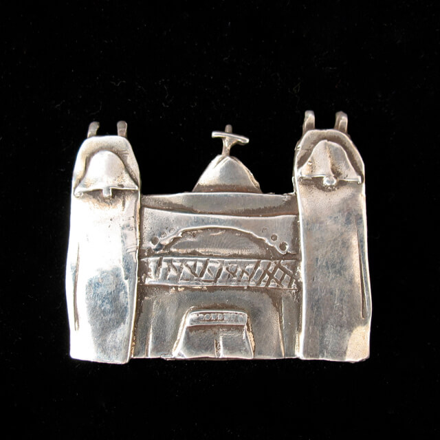 STERLING SILVER PIN OF THE CHURCH AT LAS TRAMPAS BY CATHERINE MAZIERE