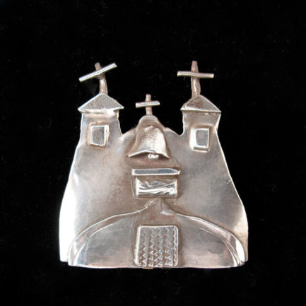 STERLING SILVER PIN OF THE CHURCH AT ISLETA PUEBLO BY CATHERINE MAZIERE