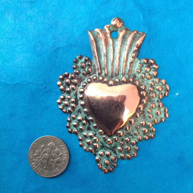 SMALL COPPER MILAGRO HEART