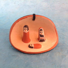 MINIATURE JEMEZ PUEBLO POTTERY NATIVITY BY BERTILLA TOYA