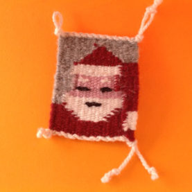 NAVAJO RUG ORNAMENT WITH CHRISTMAS DESIGN - SANTA