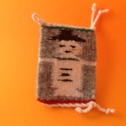 NAVAJO RUG ORNAMENT WITH CHRISTMAS DESIGN - SNOWMAN