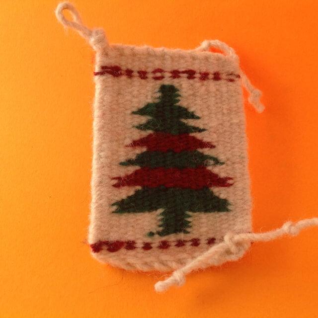NAVAJO RUG ORNAMENT WITH CHRISTMAS DESIGN - TREE