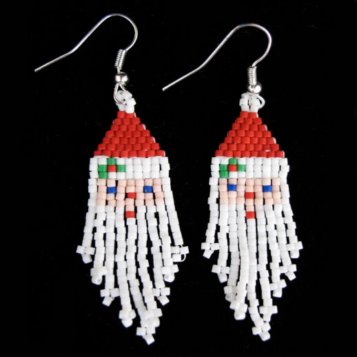 BEADED SANTA EARRINGS WITH HOLLY BY MELISSA WEBER