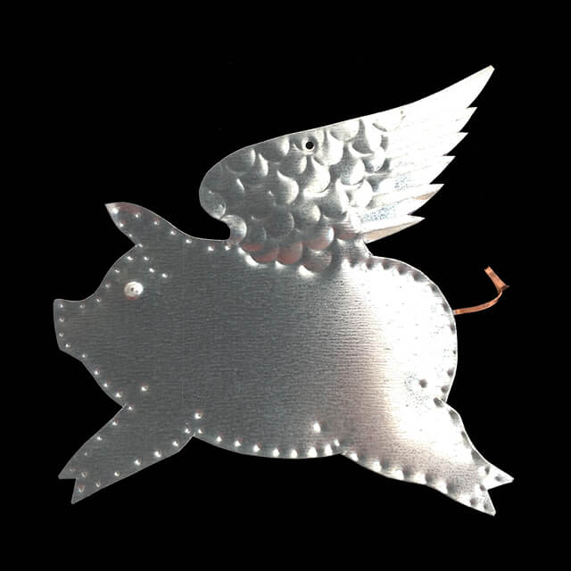 TIN FLYING PIG ORNAMENT