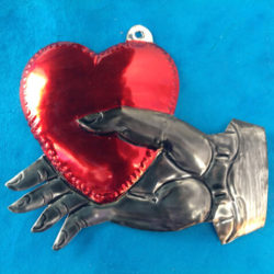 HEART AND HAND TIN ORNAMENT