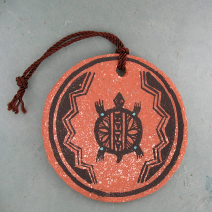 ISLETA PUEBLO POTTERY ORNAMENT BY MAPOO, RED SLIP